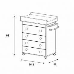 Cómoda/mudador/bañera Istar diseño lunares grises 3 en 1 micuna
