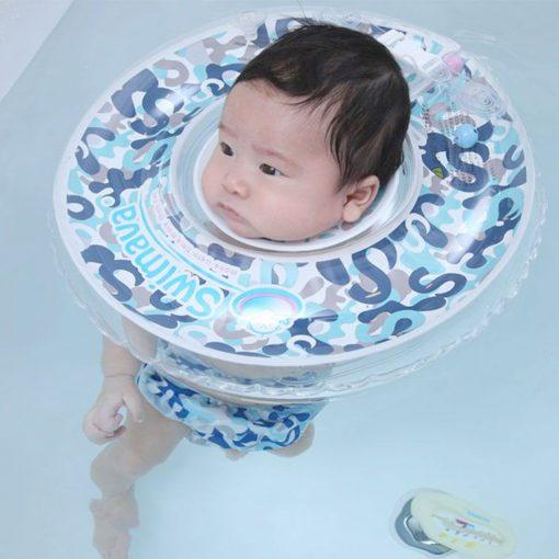 Aro flotador de cuello + pañal de agua Camo Blue Swimava