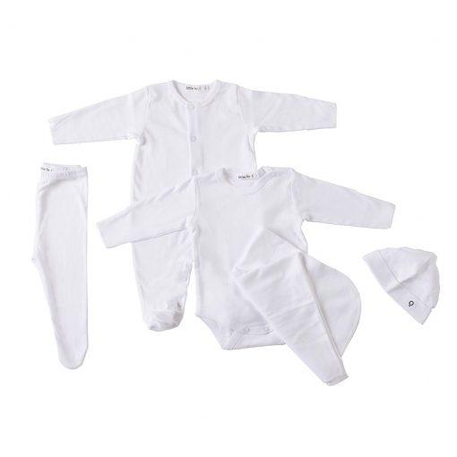 """Set cinco piezas ajuar """"blanco"""". Ropa para bebés, 100% algodón peruano"""