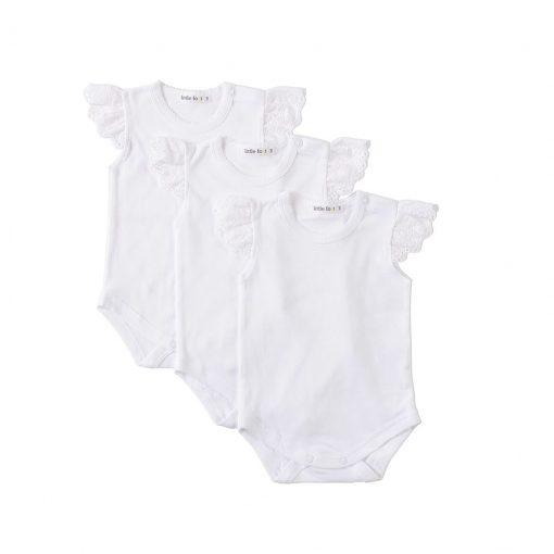 """Set tres bodys """"blancos con mangas de encaje"""" Little Foot. Ropa para bebés con estilo"""