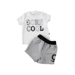 "Set polera + short algodón ""Born Cool"" Little Foot. Ropa para bebés con estilo"