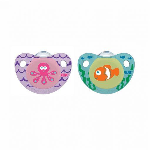 Dos chupetes de silicona pulpo y pez ortodóntico Etapa 2 | NUK