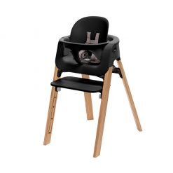 Pack silla streps negro/roble natural Stokke