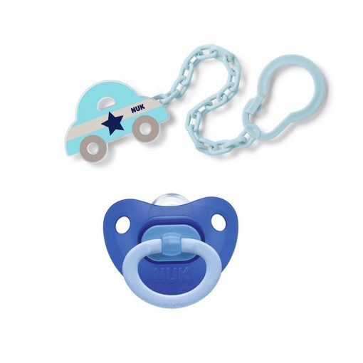 Pack chupete fashion y clip cadena azul