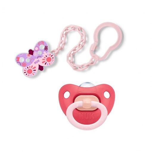 Pack chupete fashion y clip cadena rosado NUK