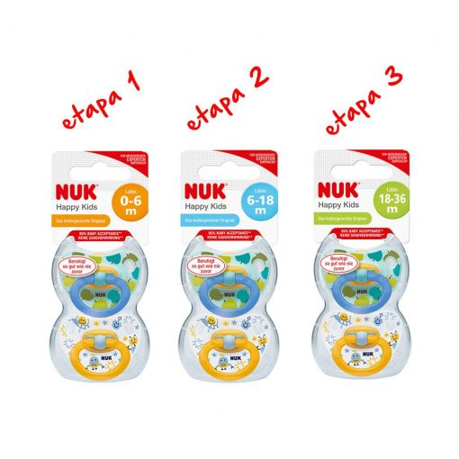 Pack 6 chupetes Happy Kids látex todas las etapas