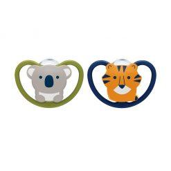 2 chupetes space koala y tigre etapa 2 (6 a 18 meses) NUK