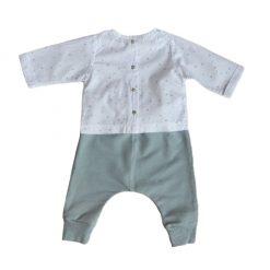 Set blusa puntitos, pantalón gris y chaleco azul marino Little Foot
