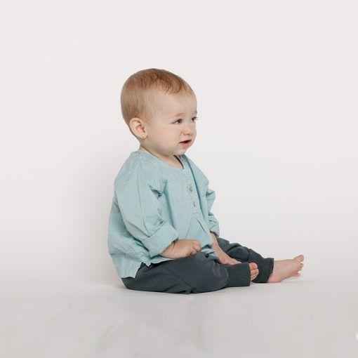 Set blusa celeste y pantalón azul Little Foot