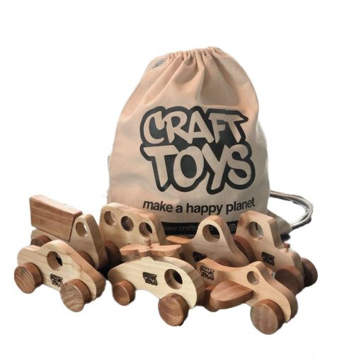 Set 7 transportes natural más mochila saco Craft Toys