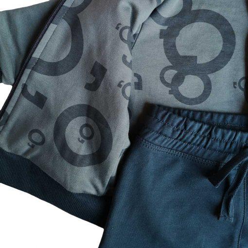 Set polerón gris petróleo estampado en el interior y pantalón azul Little Foot
