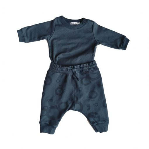 Set polera con coderas y pantalón estampado azul Little Foot