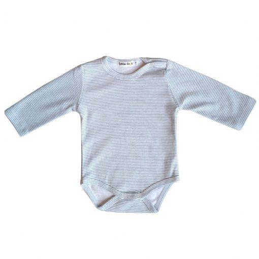 Set de tres bodys de manga larga con botón en el hombro. Blanco con rayas grises, blanco con letras negras Little Foot y azul oscuro con logo blanco en el brazo