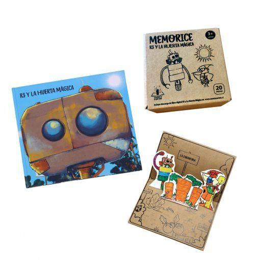 """Pack libro """"R3 y la huerta mágica"""" tapa blanda, tarjeta de adivinanzas y lamina para colorear"""
