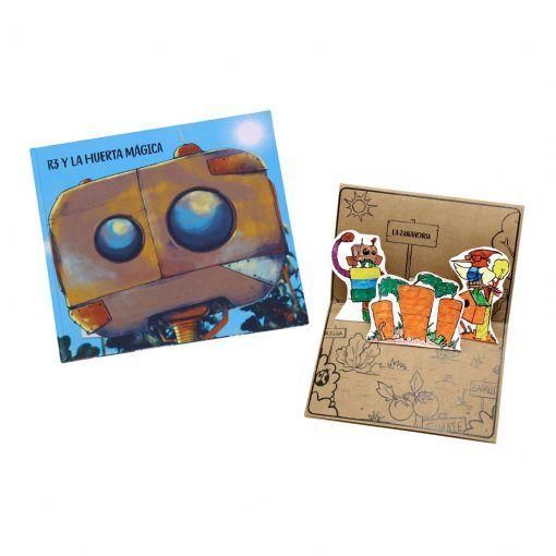 """ack libro """"R3 y la huerta mágica"""" tapa dura, tarjeta de adivinanzas y lámina Cuenta Cartón"""