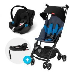 Travel system Pockit plus AT L. blue + silla Aton + base GB