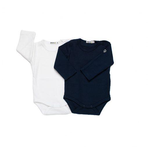 Set 2 bodys de algodón azul petróleo y blanco, algodón peruano Little Foot