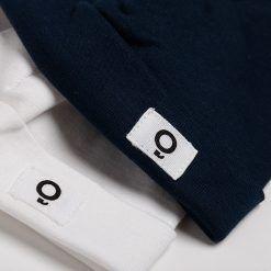 Set 2 gorritos de algodón azul petróleo y blanco de suave algodón peruano